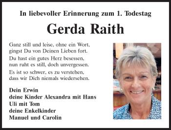 Traueranzeige von Gerda Raith von Mittelbayerische Zeitung Regensburg