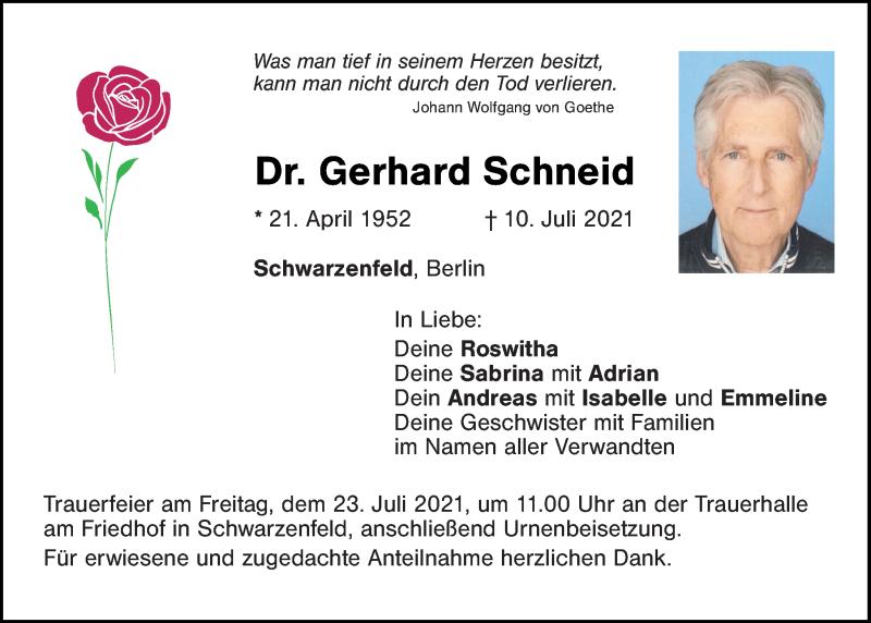 Traueranzeige für Gerhard Schneid vom 21.07.2021 aus Mittelbayerische Zeitung Schwandorf