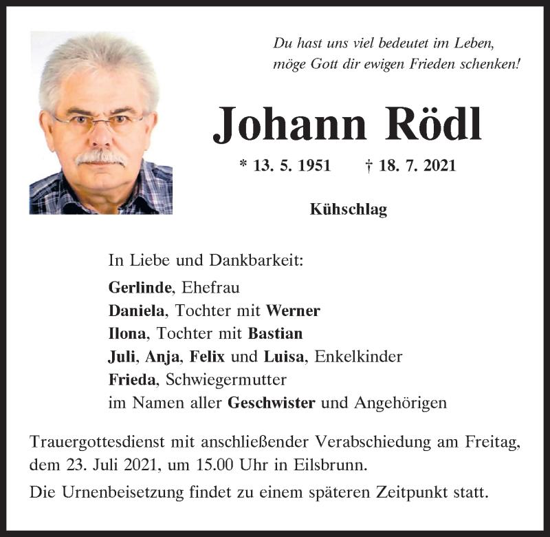 Traueranzeige für Johann Rödl vom 21.07.2021 aus Mittelbayerische Zeitung Regensburg