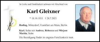 Traueranzeige von Karl Gleixner von Bayerwald Echo
