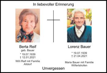 Traueranzeige von Lorenz Bauer von Neumarkter Tagblatt