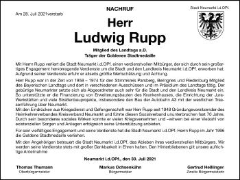 Traueranzeige von Ludwig Rupp von Neumarkter Tagblatt