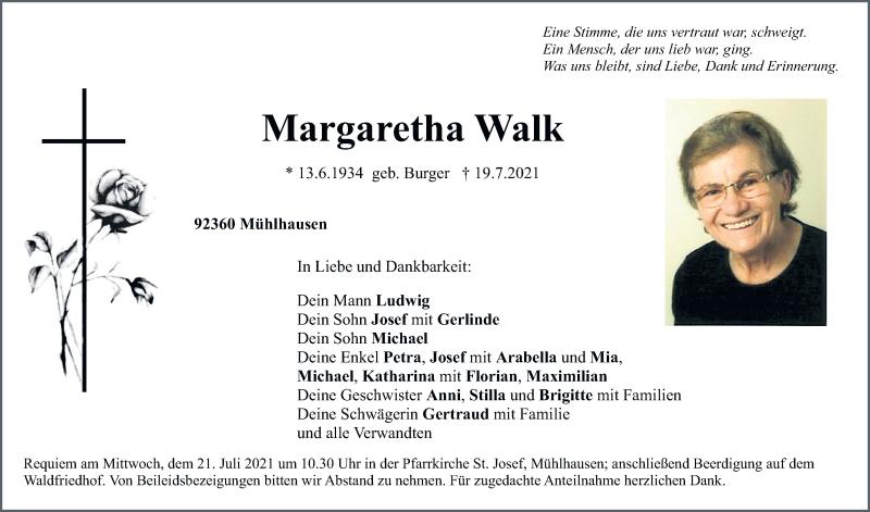 Traueranzeige für Margaretha Walk vom 20.07.2021 aus Neumarkter Tagblatt