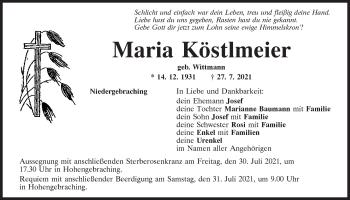 Traueranzeige von Maria Köstlmeier von Mittelbayerische Zeitung Regensburg