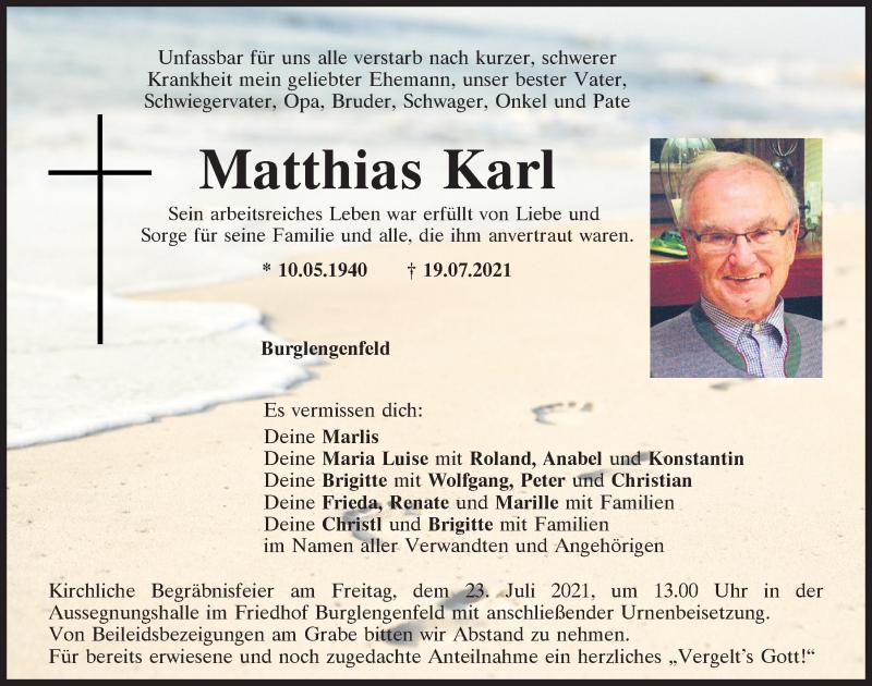Traueranzeige für Matthias Karl vom 22.07.2021 aus Mittelbayerische Zeitung Schwandorf