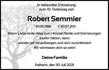 Traueranzeige von Robert Semmler von Mittelbayerische Zeitung Kelheim
