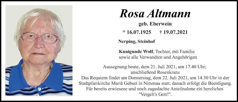 Traueranzeige für Rosa Altmann vom 21.07.2021 aus Mittelbayerische Zeitung Schwandorf