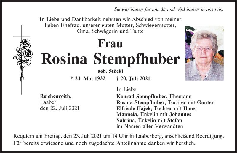 Traueranzeige für Rosina Stempfhuber vom 22.07.2021 aus Mittelbayerische Zeitung Kelheim