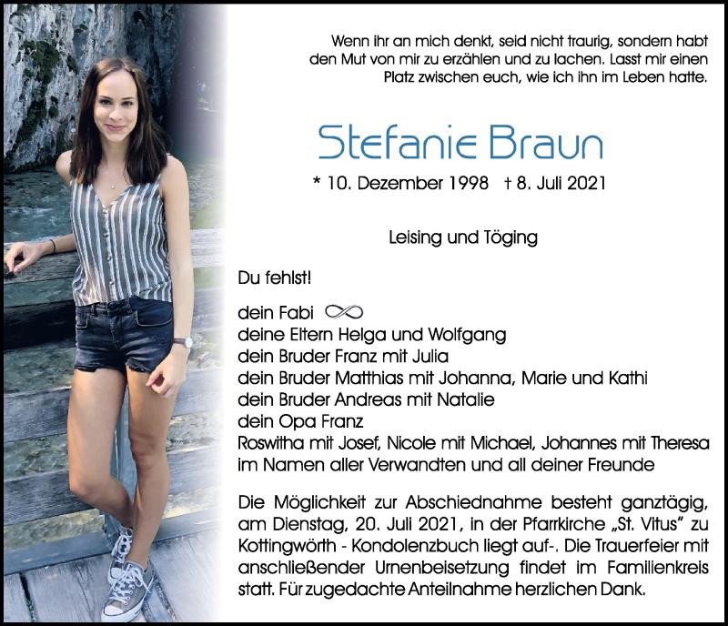 Traueranzeige für Stefanie Braun vom 17.07.2021 aus Neumarkter Tagblatt
