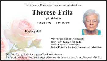 Traueranzeige von Therese Fritz von Mittelbayerische Zeitung Schwandorf