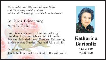 Traueranzeige von Katharina Bartonitz von Mittelbayerische Zeitung Regensburg