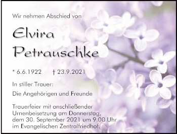 Traueranzeige von Elvira Petrauschke von Mittelbayerische Zeitung Regensburg