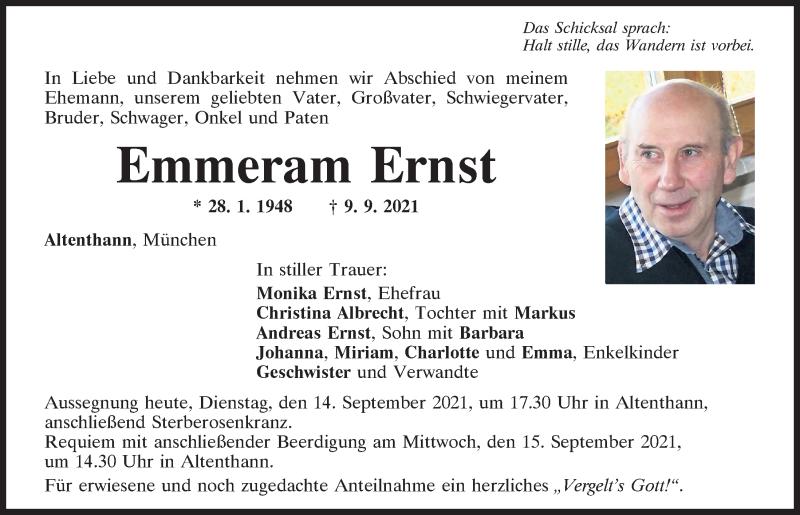 Traueranzeige für Emmeram Ernst vom 14.09.2021 aus Mittelbayerische Zeitung Regensburg