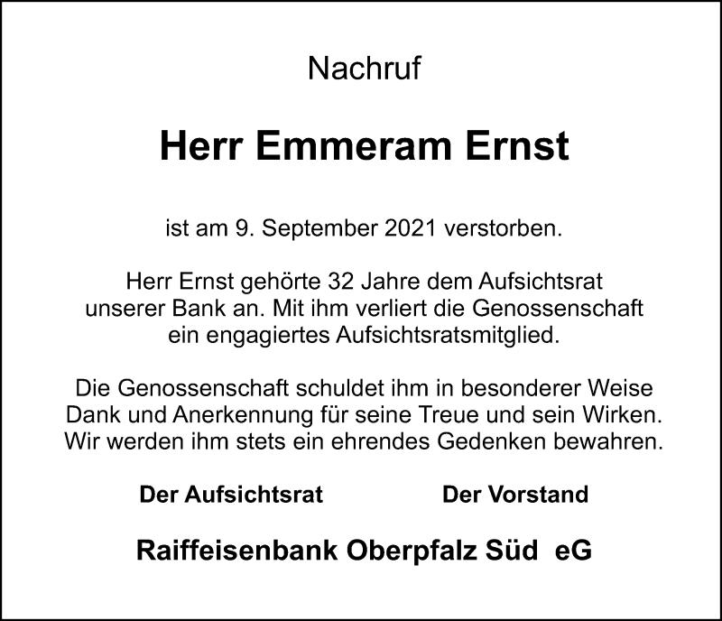 Traueranzeige für Emmeram Ernst vom 15.09.2021 aus Mittelbayerische Zeitung Regensburg