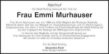 Traueranzeige von Emmi Murhauser von Bayerwald Echo