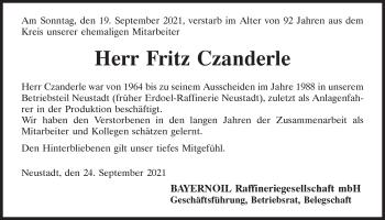 Traueranzeige von Fritz Czanderle von Mittelbayerische Zeitung Kelheim