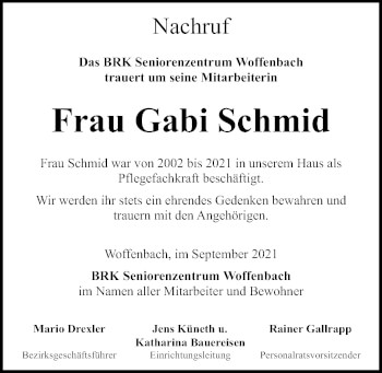 Traueranzeige von Gabi Schmid von Neumarkter Tagblatt
