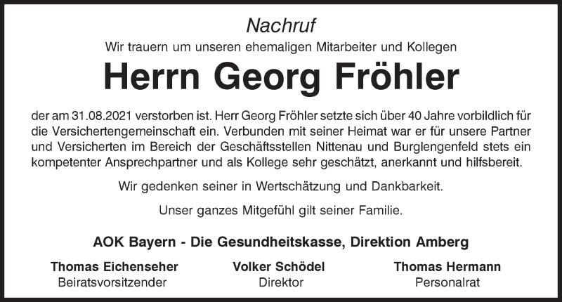 Traueranzeige für Georg Fröhler vom 14.09.2021 aus Mittelbayerische Zeitung Schwandorf