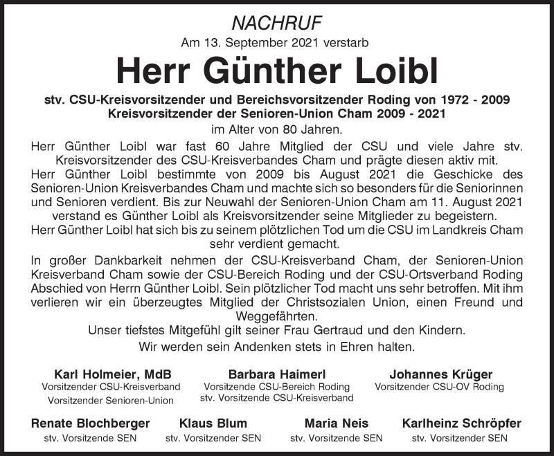 Traueranzeige für Günther Loibl vom 16.09.2021 aus Bayerwald Echo