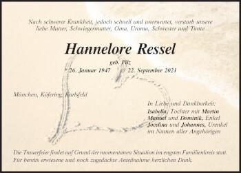 Traueranzeige von Hannelore Ressel von Mittelbayerische Zeitung Kelheim