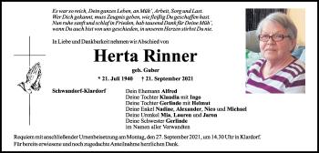 Traueranzeige von Herta Rinner von Mittelbayerische Zeitung Schwandorf