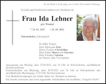 Traueranzeige von Ida Lehner von Mittelbayerische Zeitung Schwandorf