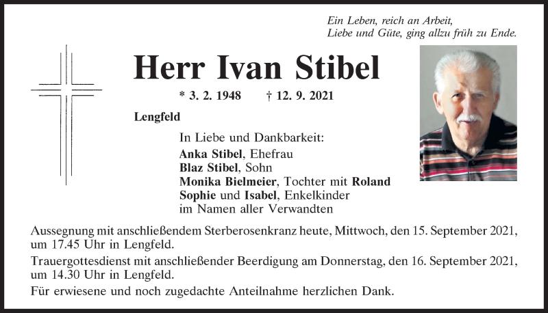 Traueranzeige für Ivan Stibel vom 15.09.2021 aus Mittelbayerische Zeitung Regensburg