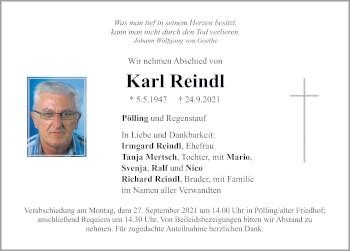 Traueranzeige von Karl Reindl von Neumarkter Tagblatt