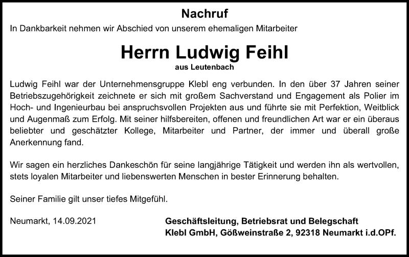 Traueranzeige für Ludwig Feihl vom 14.09.2021 aus Neumarkter Tagblatt