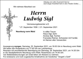 Traueranzeige von Ludwig Sigl von Mittelbayerische Zeitung Schwandorf