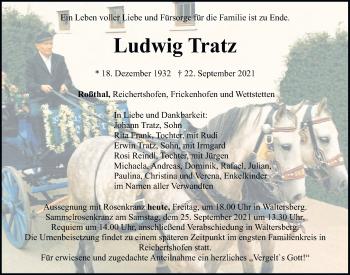 Traueranzeige von Ludwig Tratz von Neumarkter Tagblatt