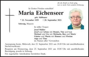Traueranzeige von Maria Eichenseer von Mittelbayerische Zeitung Kelheim