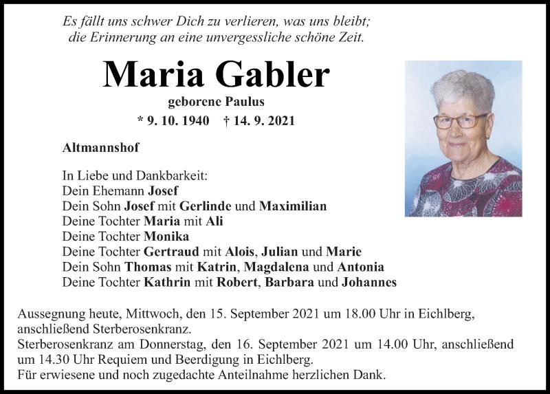 Traueranzeige für Maria Gabler vom 15.09.2021 aus Mittelbayerische Zeitung Regensburg