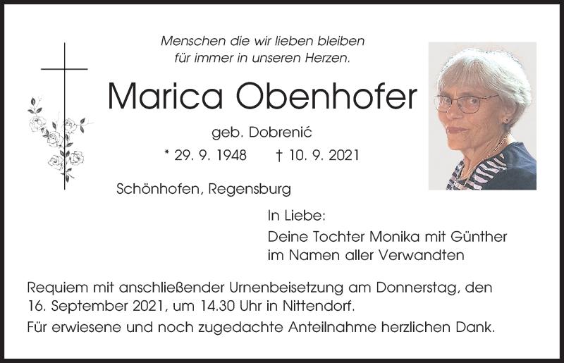 Traueranzeige für Marica Obenhofer vom 15.09.2021 aus Mittelbayerische Zeitung Regensburg