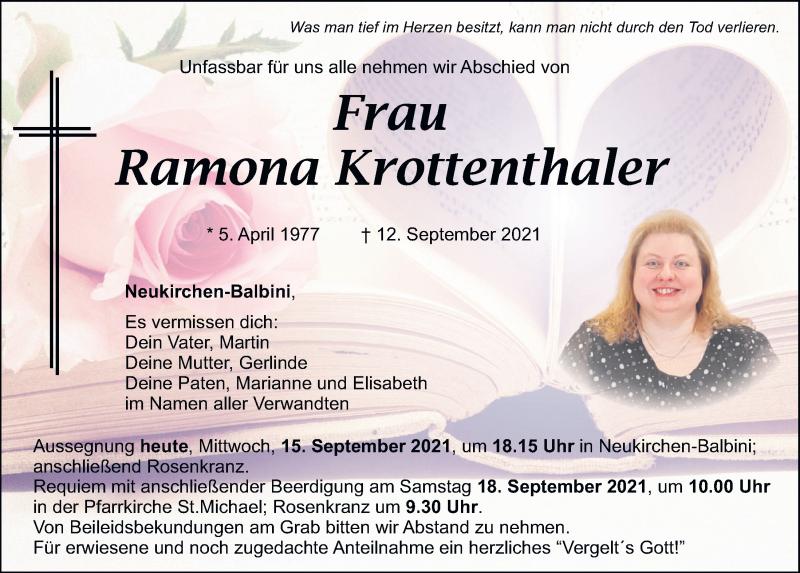 Traueranzeige für Ramona Krottenthaler vom 15.09.2021 aus Mittelbayerische Zeitung Schwandorf