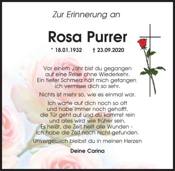 Traueranzeige von Rosa Purrer von Neumarkter Tagblatt