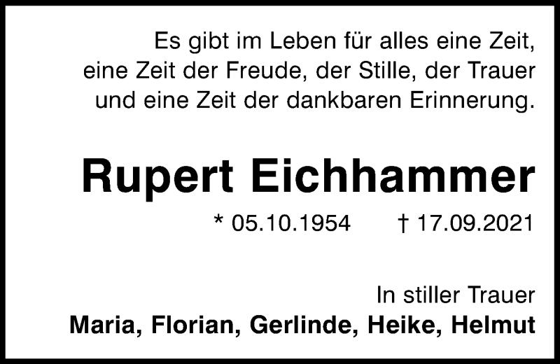 Traueranzeige für Rupert Eichhammer vom 23.09.2021 aus Mittelbayerische Zeitung Kelheim