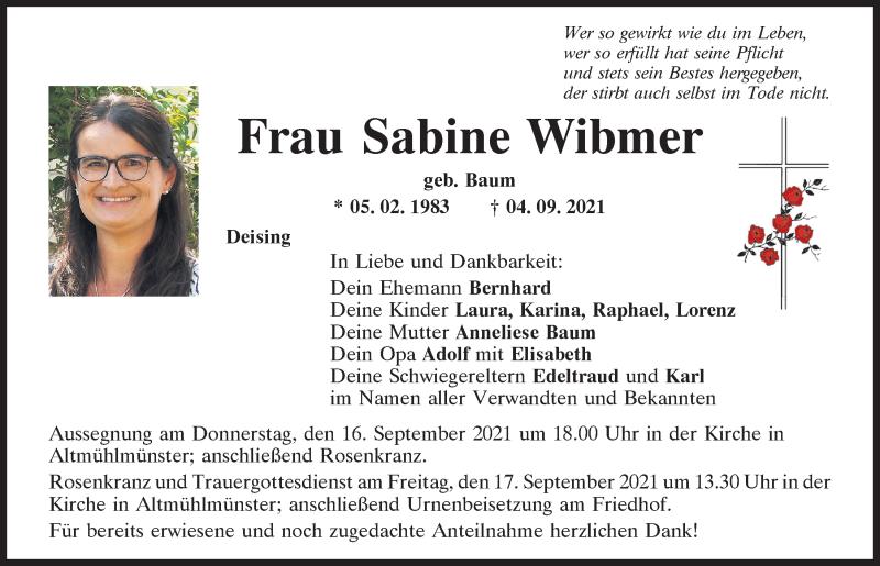 Traueranzeige für Sabine Wibmer vom 15.09.2021 aus Neumarkter Tagblatt