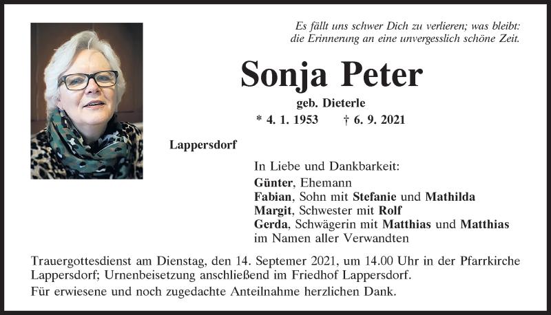 Traueranzeige für Sonja Peter vom 11.09.2021 aus Mittelbayerische Zeitung Regensburg
