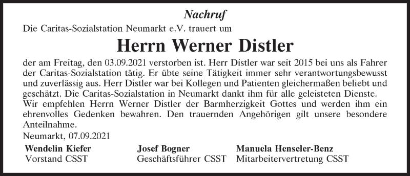 Traueranzeige für Werner Distler vom 07.09.2021 aus Neumarkter Tagblatt